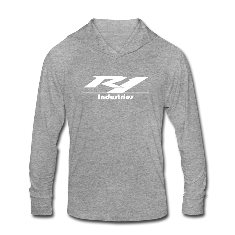 R1 Logo - Unisex Tri-Blend Lightweight Hoodie - heather gray