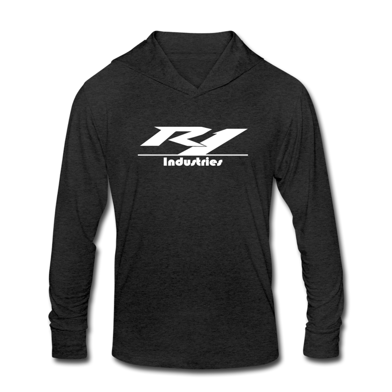 R1 Logo - Unisex Tri-Blend Lightweight Hoodie - heather black
