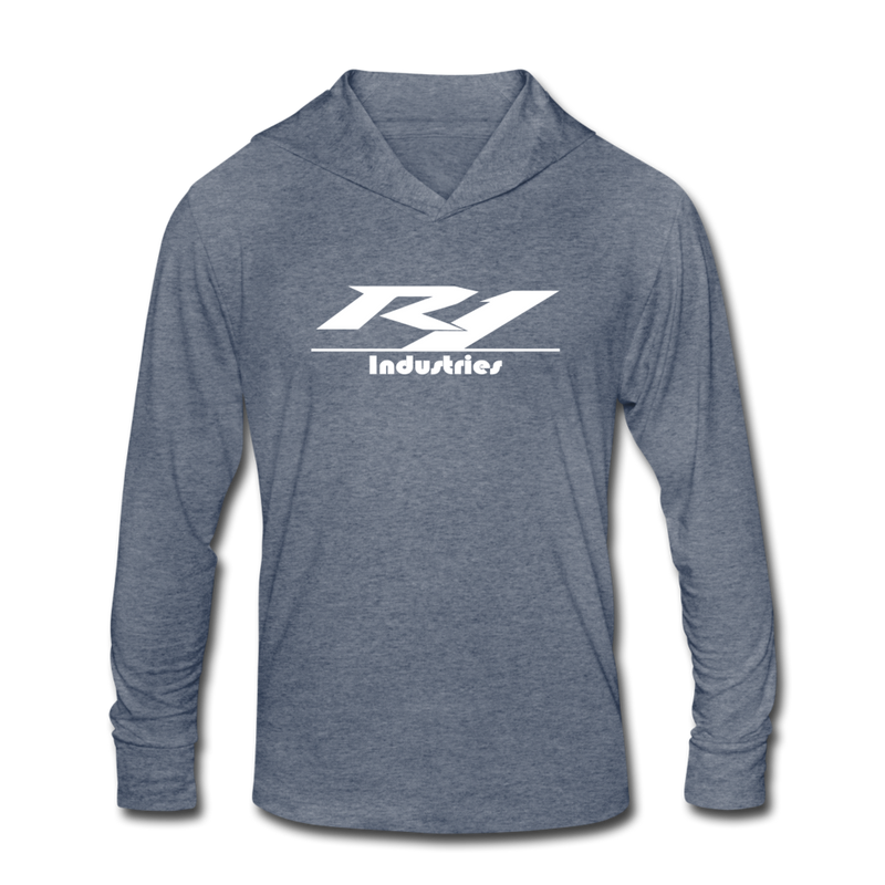 R1 Logo - Unisex Tri-Blend Lightweight Hoodie - heather blue