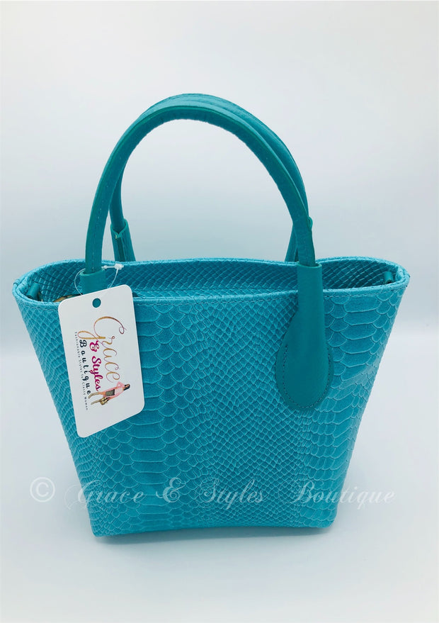 Small Leather Python Print Tote in Aqua