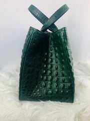 Crocodile leather satchel handbag in Green