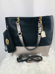 Large Black and Metallic Vegan Leather Tote wt Wallet