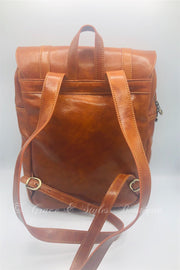 Men business genuine leather backpack in tan