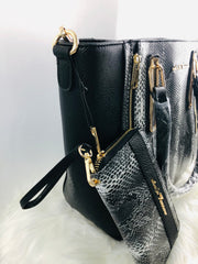 Melly Black Vegan Leather Tote