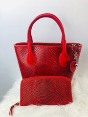 Small Leather Python Print Tote in Red