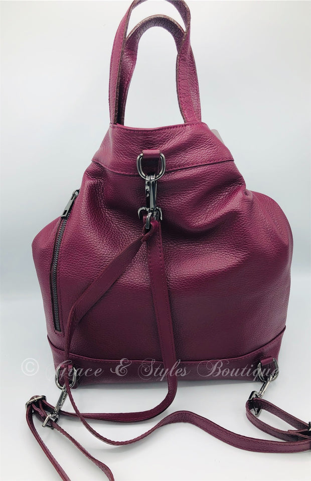 Large leather Over the Shoulder Sling or Backback in Wine