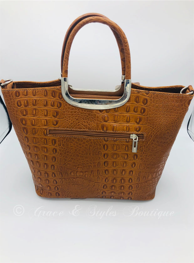Crocodile Leather Stuctured handbag with metal handles (Brown)