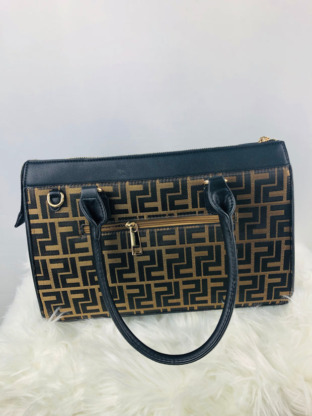 Structured Monogram Tote wt Wallet Black
