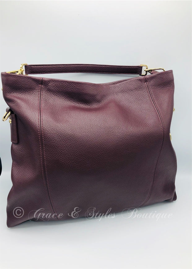 Carry All Large Leather Handbag in Wine