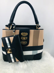Vegan Leather Accent Plaid Turn Lock Hobo in Black and Brown