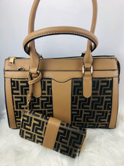 Structured Monogram Tote wt Wallet Taupe