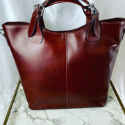Large Leather Tote Bag in Cherry Brown