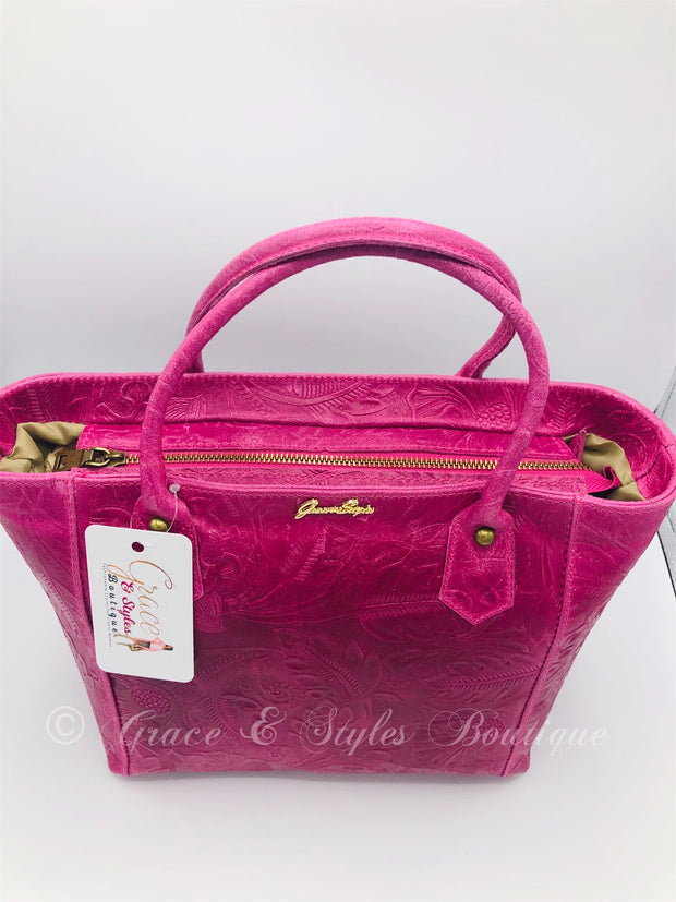 Suede Tool Leather in Fuschia Pink