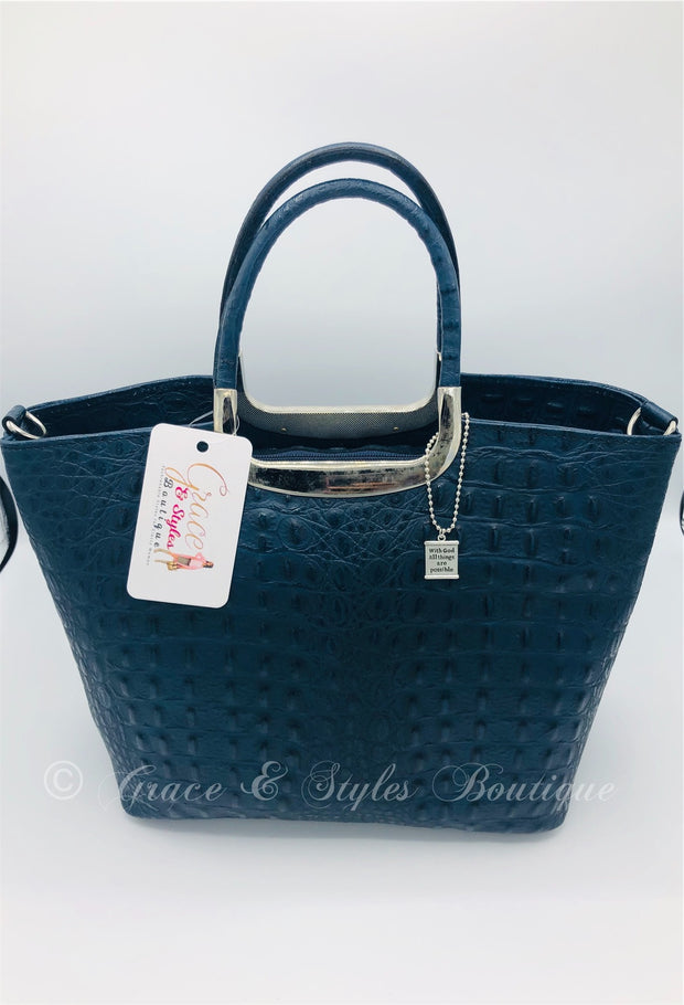Crocodile Leather Stuctured handbag with metal handles (Blue)
