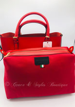 Load image into Gallery viewer, Bright Red Leather Tote with removable fabric compartment