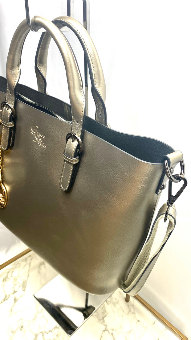 Rosa Metallic Leather Tote