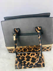 Vegan leather Leopard 2-in-1 Satchel wt Wallet