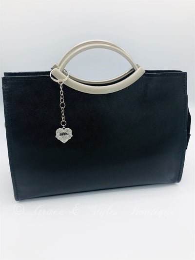 Leather evening bag with metal handles in black
