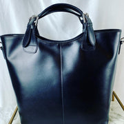 Large Leather Tote Bag in Black