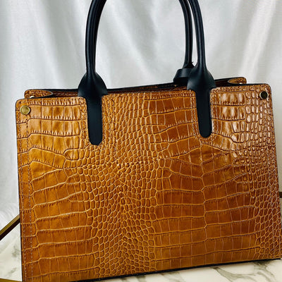 Crocodile Leather Structured Handbag in Brown