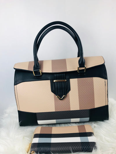 Vegan Plaid Print Flap Satchel in Brown