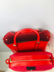 Bright Red Leather Tote with removable fabric compartment