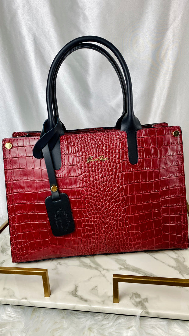 Crocodile Leather Structured Handbag in Red
