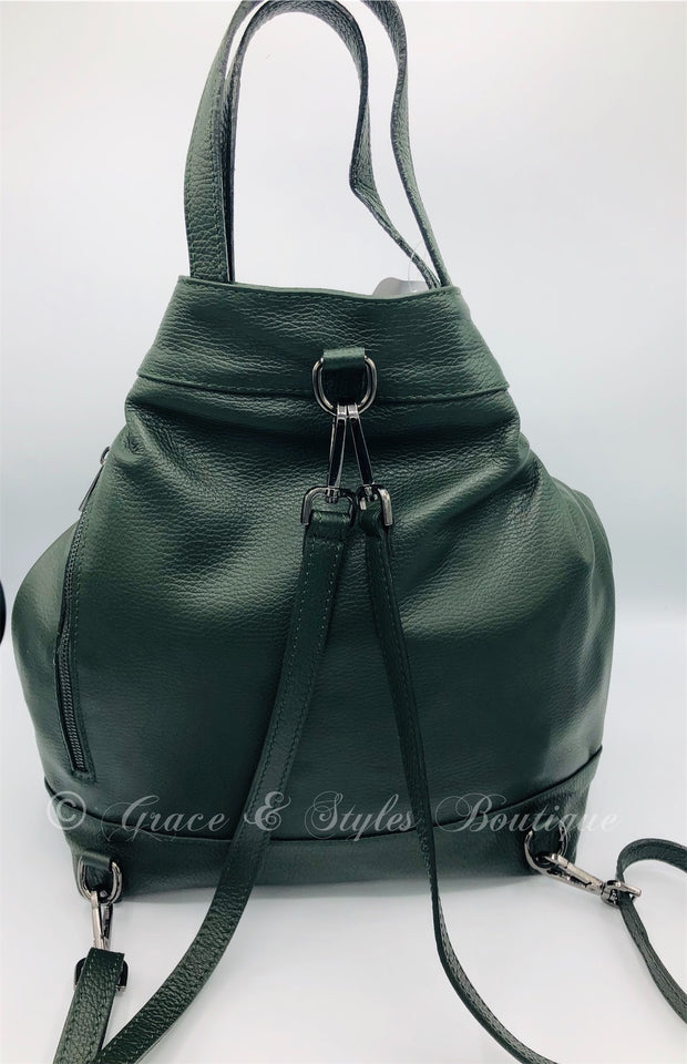 Large leather Over the Shoulder Sling or Backback in Green
