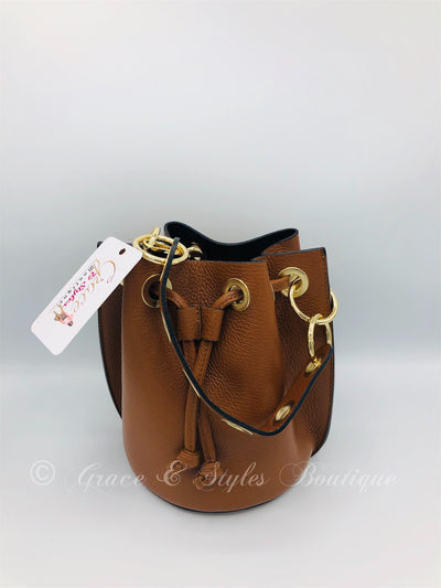 Leather Bucket Bag in Tan with Chain shoulder strap