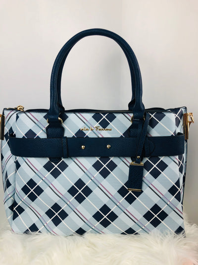 Vegan leather Plaid Satchel