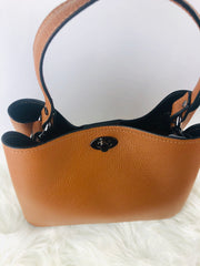 Leather Bucket Style Bag in Tan
