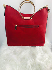 Red, white, and pink top handle satchel