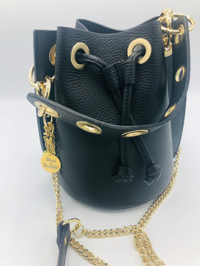 Leather Bucket Bag in Black with Chain shoulder strap