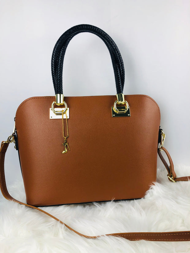 Sleek leather satchel with rope design handles in tan