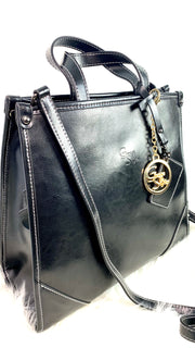 Lia - All black leather handbag