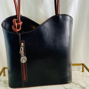 Tall & Curvy Leather Handbag in Black and Maroon