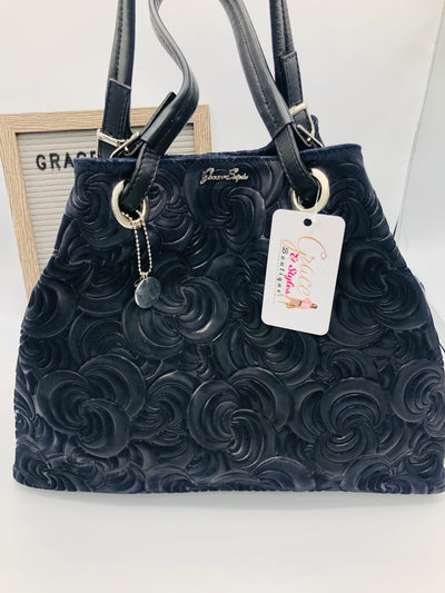 Genuine Suede leather tote in dark blue