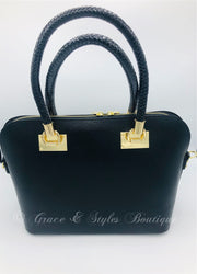 Sleek leather satchel with rope design handles in black