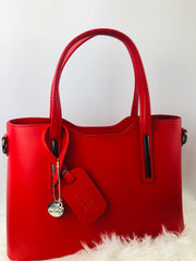 Vibrant Red Leather Handbag