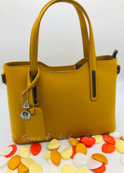 Vibrant Fall Leather Handbag in Yellow