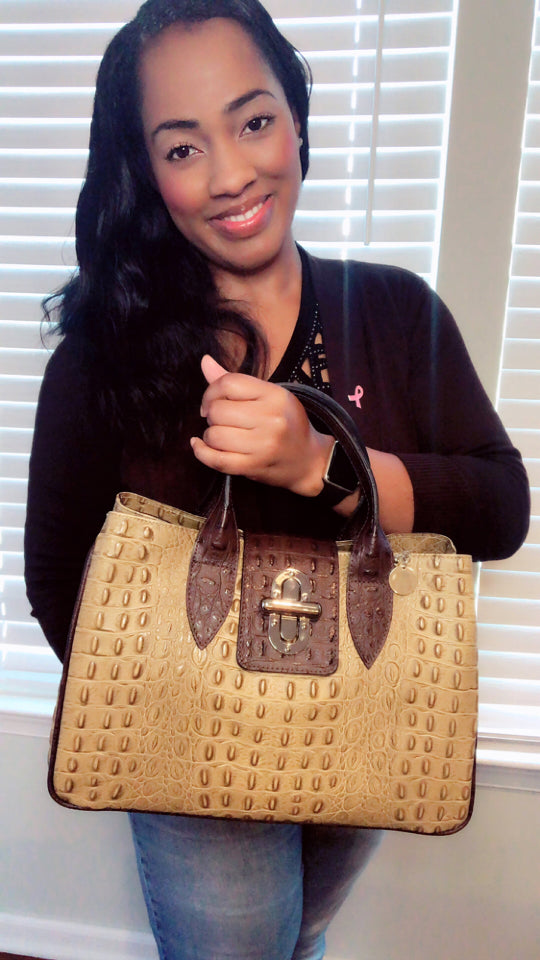 Crocodile leather satchel handbag in Taupe