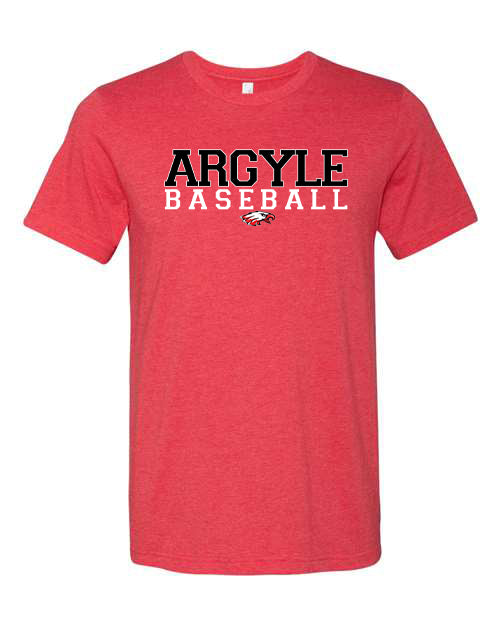 Argyle Baseball Red Bella Canvas Tee