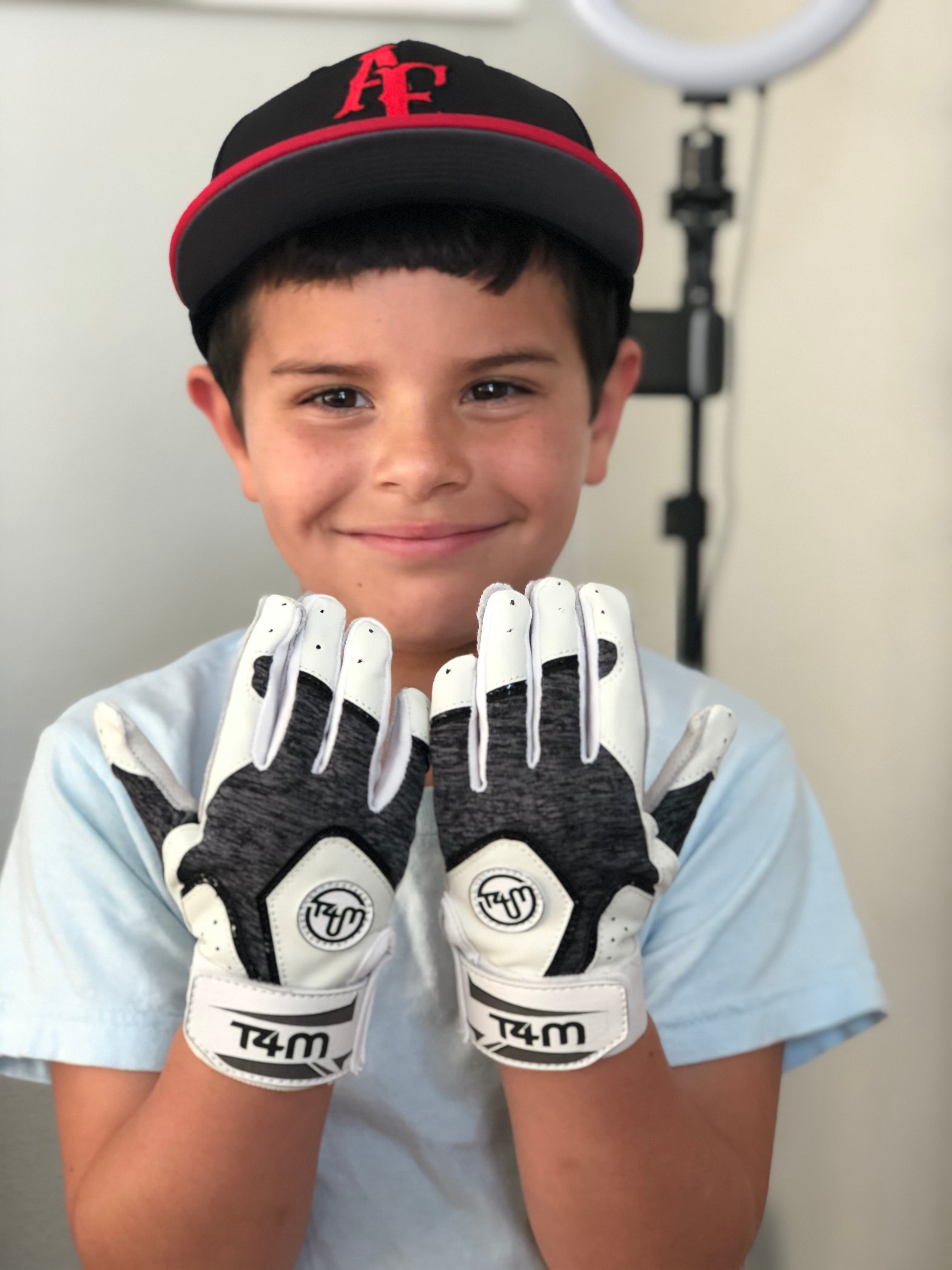T4M Leather Batting Gloves- White