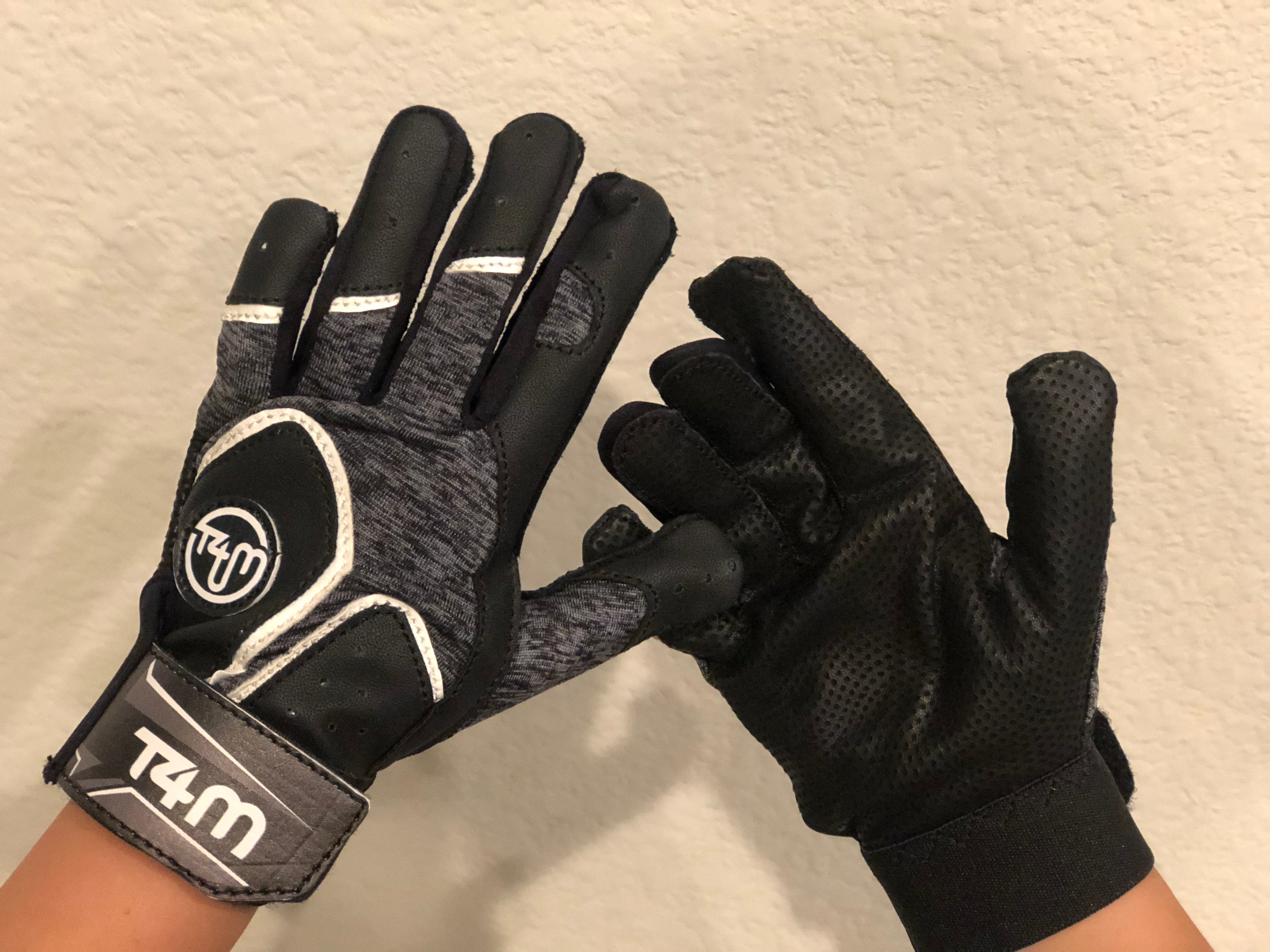 T4M Leather Batting Gloves- Black