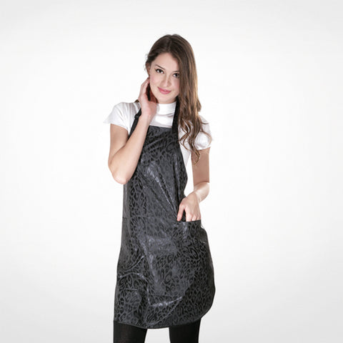 Black Apron With Leopard Motif