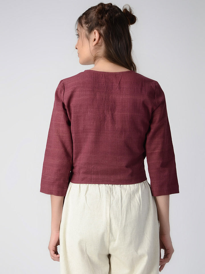 Load image into Gallery viewer, Maroon Overlap Organic Cotton Crop Top