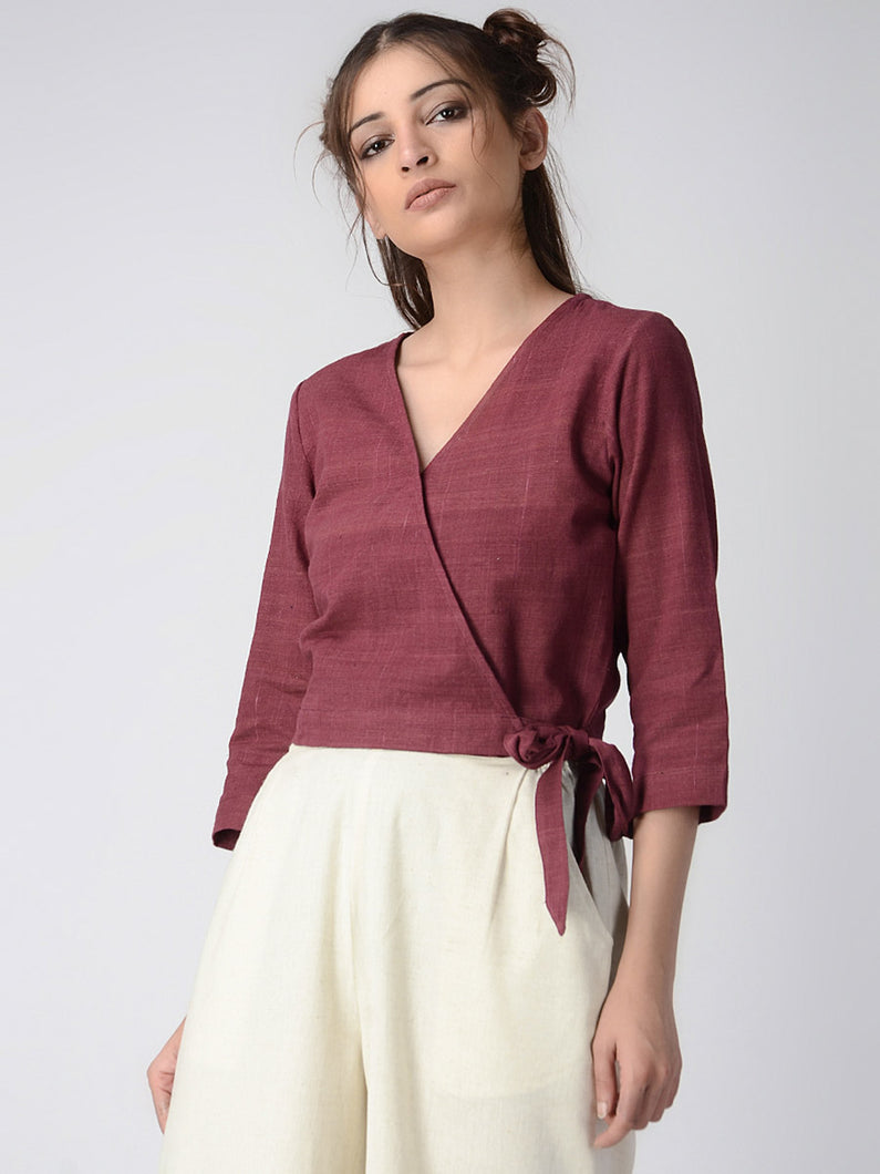 Maroon Overlap Organic Cotton Crop Top