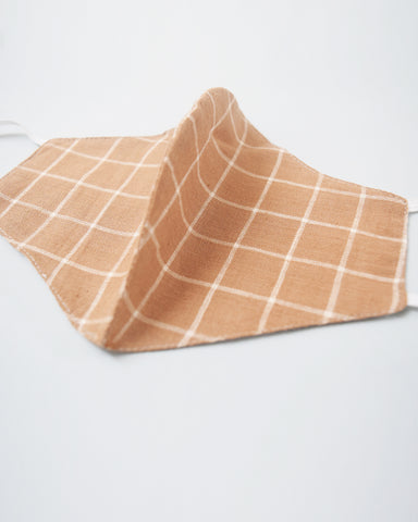 Brown Checkered Organic Cotton and Ivory Covers - Set of 4