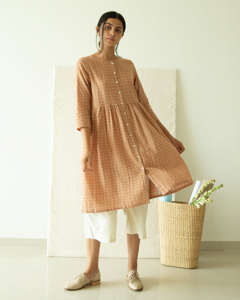 Load image into Gallery viewer, Brown Checks Button Down Tunic Dress