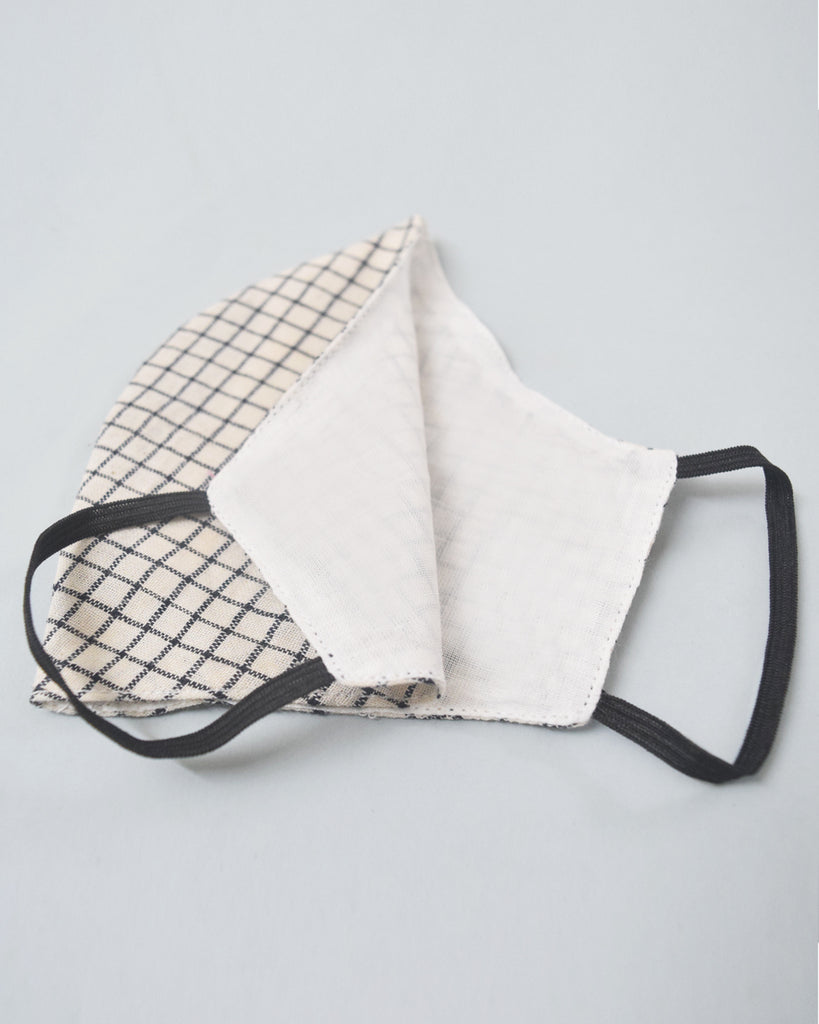 Ivory Checkered Organic Cotton Covers - Set of 4